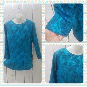 Vtg 90s plus Boho Blue Satin Asian Print Tunic
